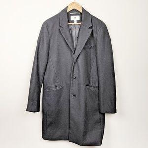 H&M | Long Mens Wool Trench Peacoat Black 42R